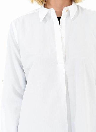 People By Fabrika Kol Apoletli Gömlek Beyaz